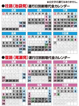 尾瀬直通往復バス:鳩待峠路線出発日カレンダー