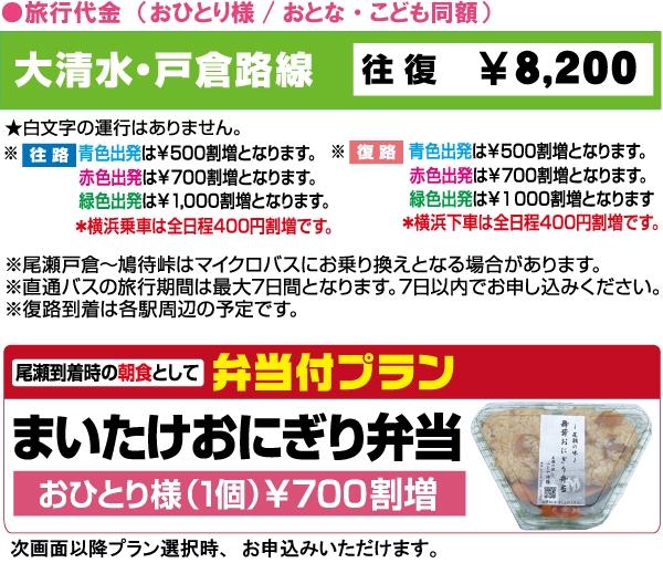 尾瀬直通往復バス:大清水・戸倉路線料金表
