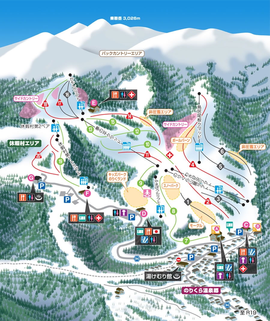 Mt.乗鞍スキー場ゲレンデマップ