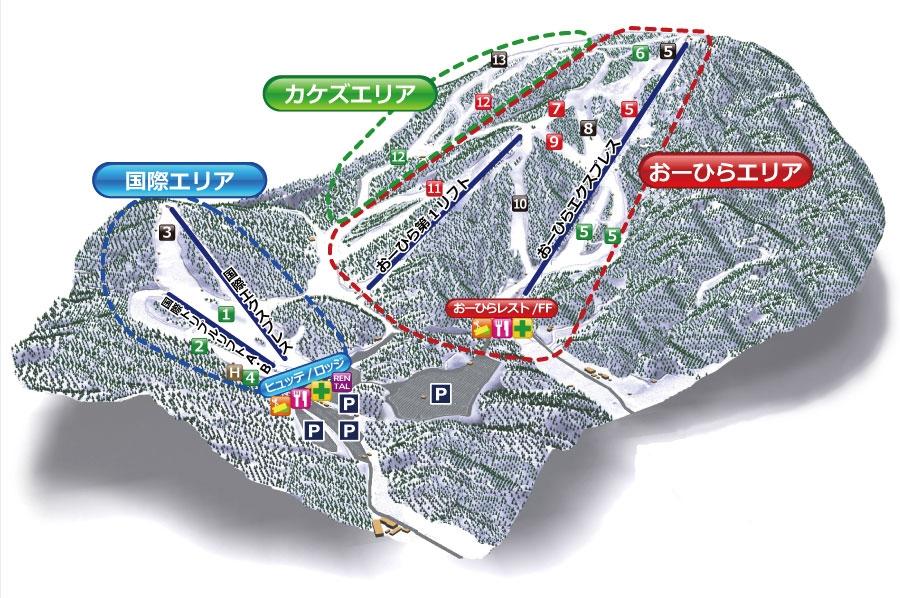 芸北国際スキー場(福岡発着)ゲレンデマップ