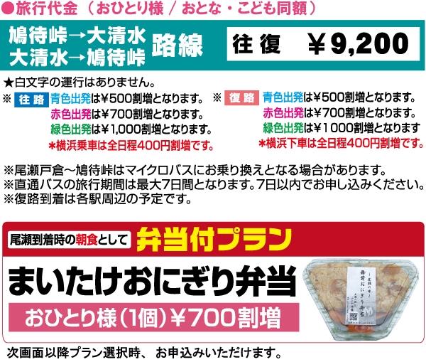 尾瀬直通往復バス:鳩待峠⇒大清水路線料金表