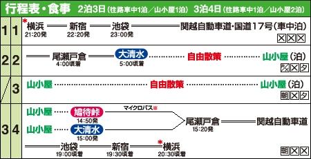 夜発バスで行く山小屋宿泊尾瀬 大清水入山コース行程表